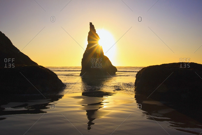 Rock formations at low tide on Bandon Beach, Oregon