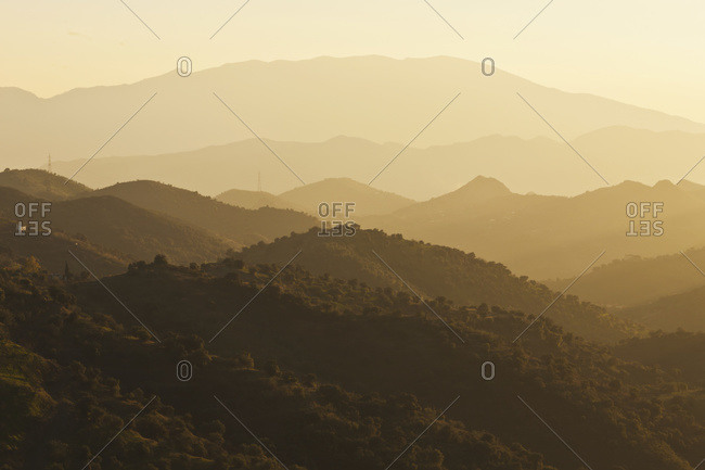 Mountain landscape at sunrise in Montes de Malaga near Almogia, Malaga Province, Andalusia, Spain