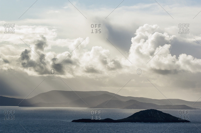 Deenish island on Ballinskelligs Bay, Iveragh Peninsula, County Kerry, Ireland