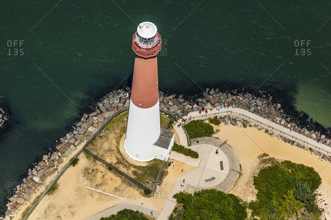 High angle view of a red and white lighthouse
