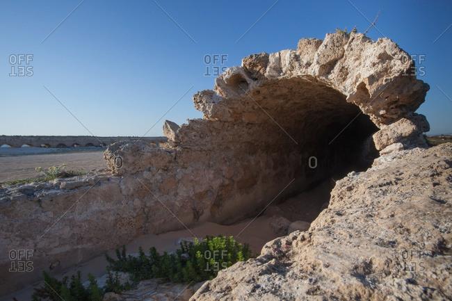 Roman aqueduct in Caesarea Maritima, a national park on the Israeli coastline near the town of Caesarea, Israel