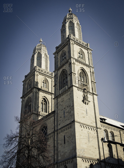 Grossmunster a romanesque-style protestant church, Zurich, Switzerland