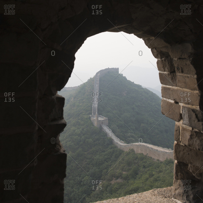 Looking out a window at the Great Wall of China, Beijing, China