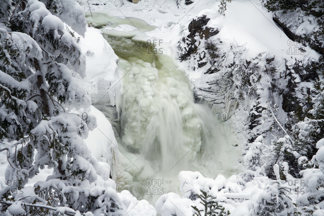 Sainte Anne Waterfall in winter in Gaspesie National Park, Quebec, Canada