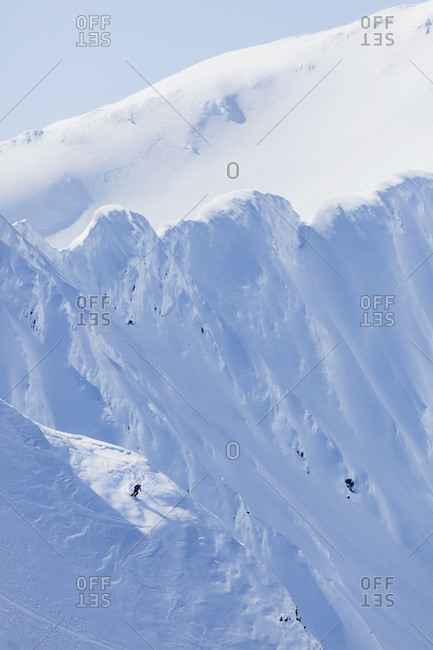 Backcountry Skiing In The Chugach Mountains In Late Winter, South-central Alaska, United States Of America