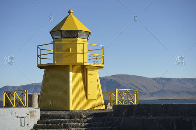 Lighthouse At Entrance To Reykjavik Harbor, Reykjavik, Gullbringusysla, Iceland
