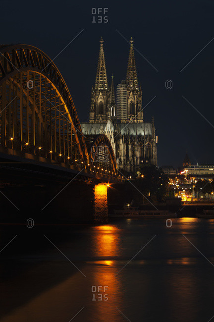 Hohenzollern Bridge over the River Rhine and Cologne Cathedral, Cologne, Germany