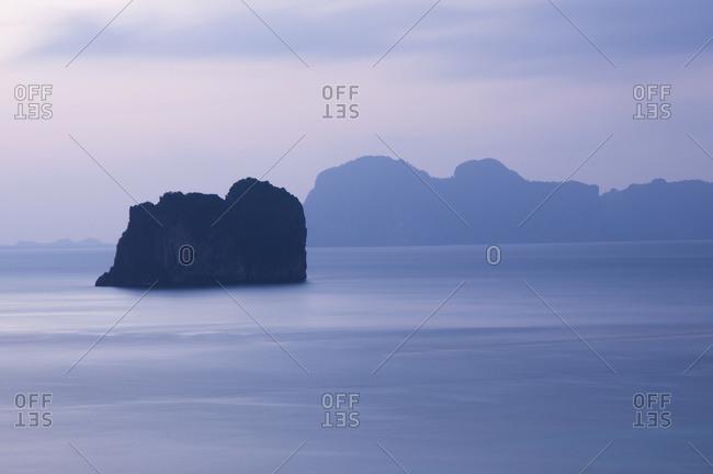 Uninhabited Island off the coast of the Island of Koh Ngai at dusk, Thailand