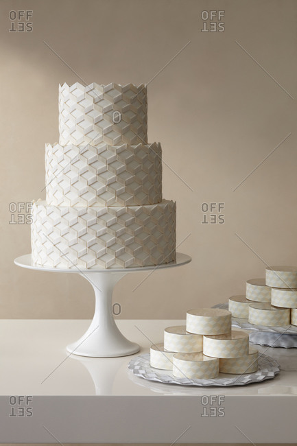 Three-tiered geometric wedding cake