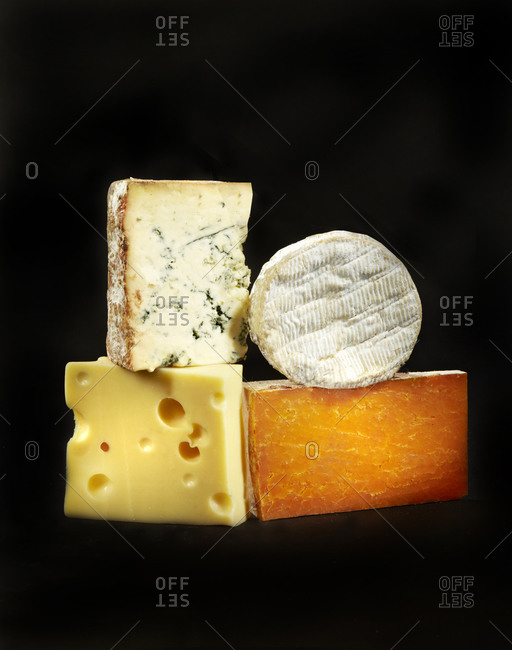 Four different types of cheeses