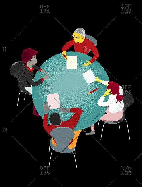 An illustration of people negotiating around a table