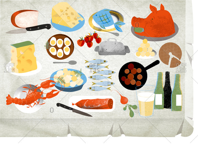 An illustration of a table with cold cuts, beer, shellfish, meatballs and cheese