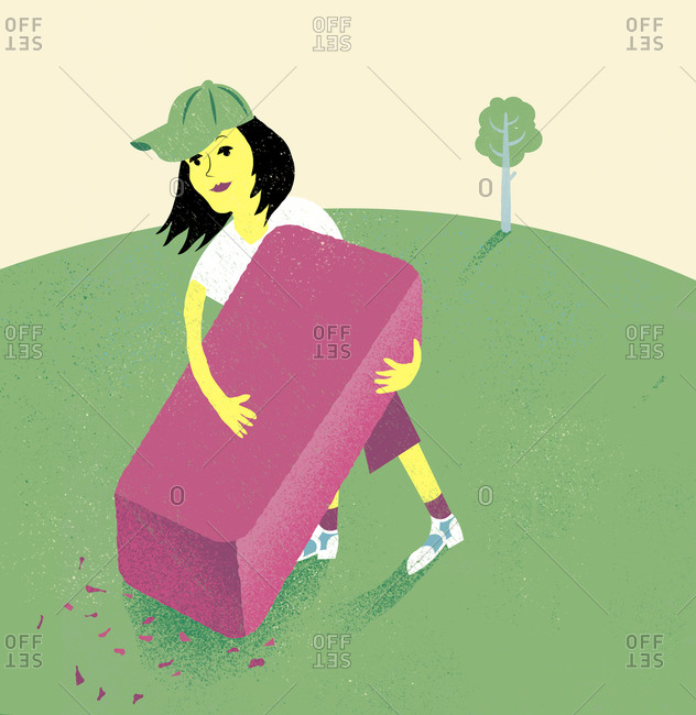 An illustration of a woman erasing a golf course