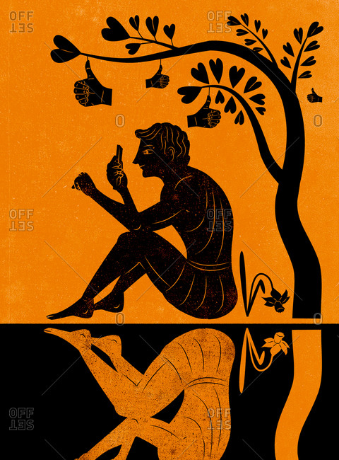 An illustration of a Greek vase with a man checking his phone