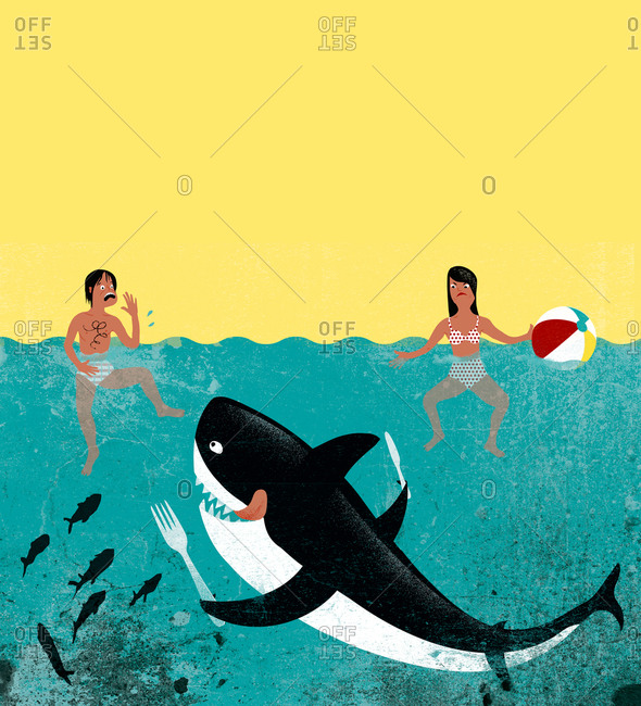 An illustration of an orca going after people