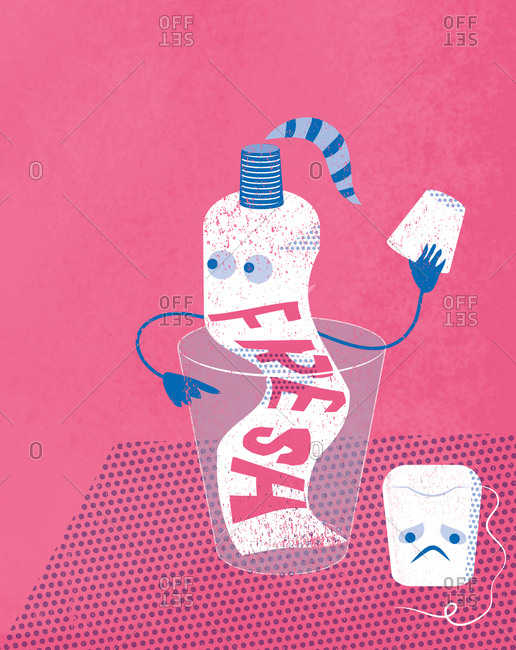 An illustration of worried toothpaste and sad dental floss