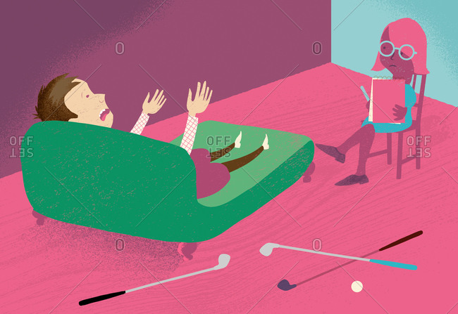 An illustration of a golfer on a couch talking to a therapist
