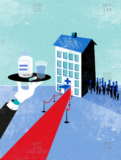 An illustration of a hospital with a red carpet