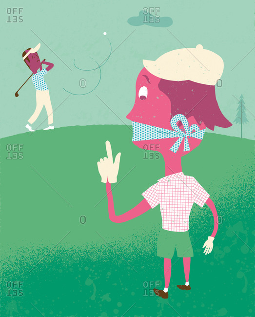 An illustration of a person muzzled on a golf course