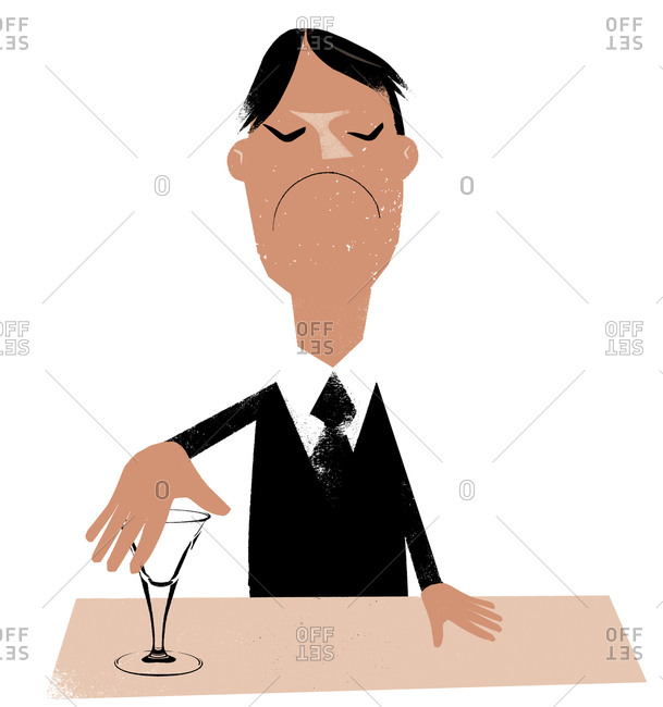 An illustration of a man covering his martini glass