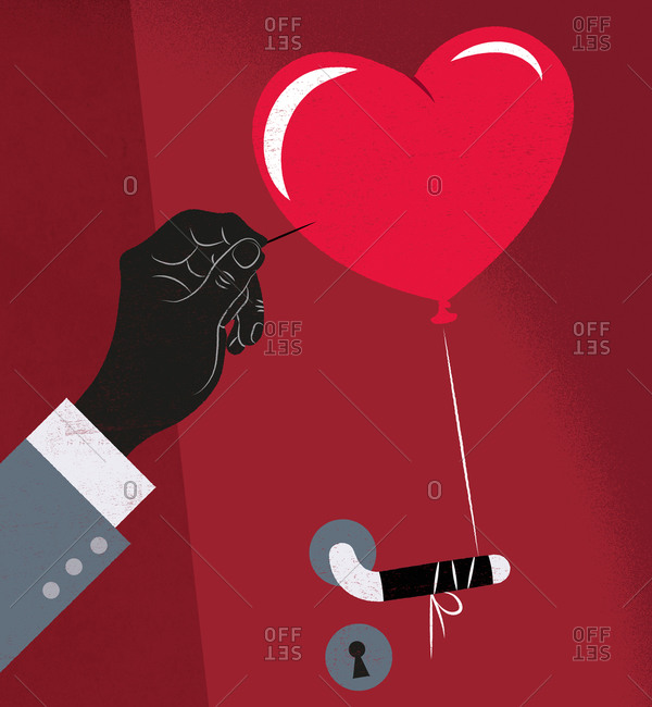 An illustration of a hand sticking a needle into a heart shaped balloon