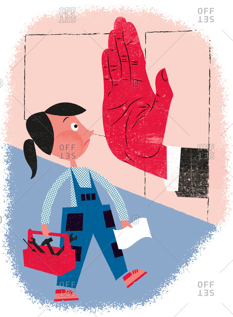 An illustration of a handywoman being told to stop