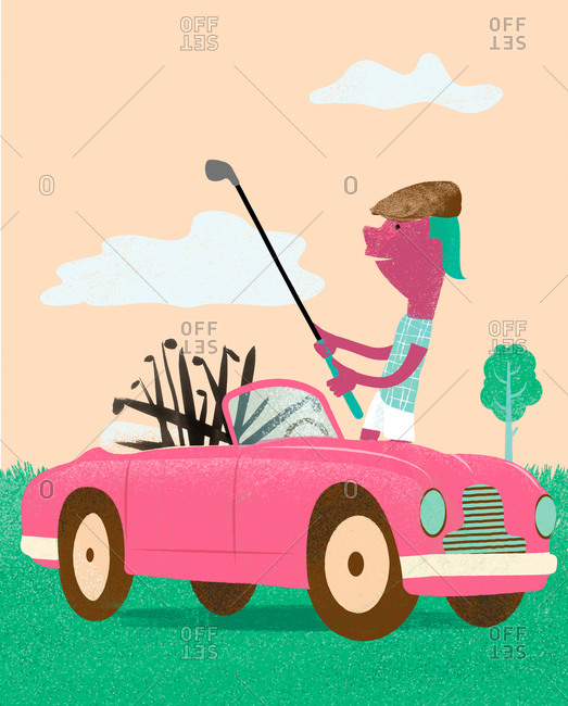 An illustration of a man selecting a golf club from a pink car