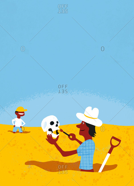 An illustration of an archeologist digging up a skull