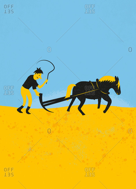 An illustration of a farmer with plow and horse on a yellow field