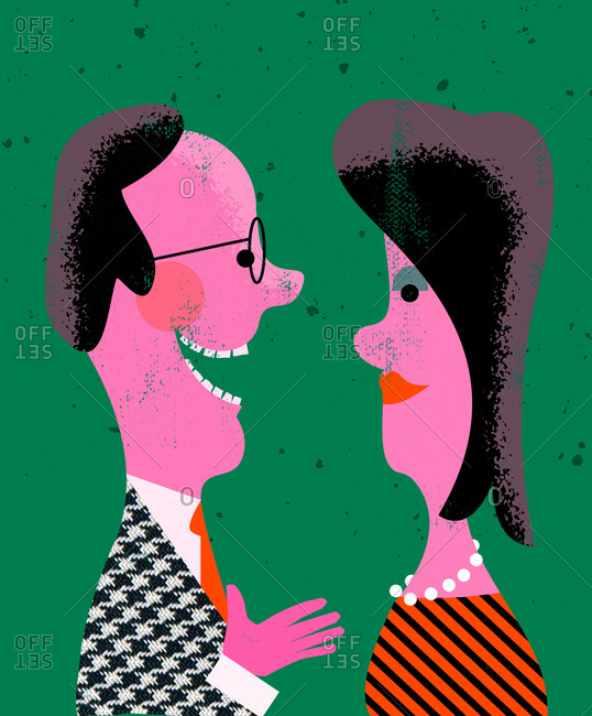 An illustration of a h man talking to woman