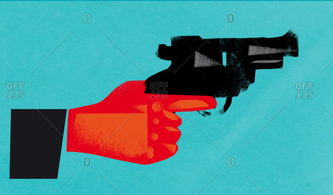 An illustration of a red hand with gun