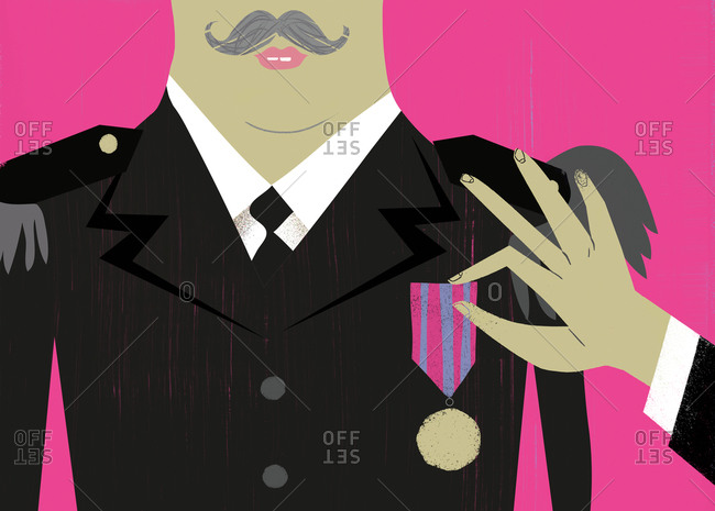 An illustration of a man an getting a medal