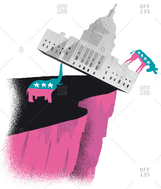 An illustration of a Republican elephant pushing the house of congress of a hill with a Democrat donkey