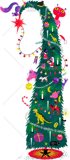 An illustration of a huge Christmas tree covered with decorations