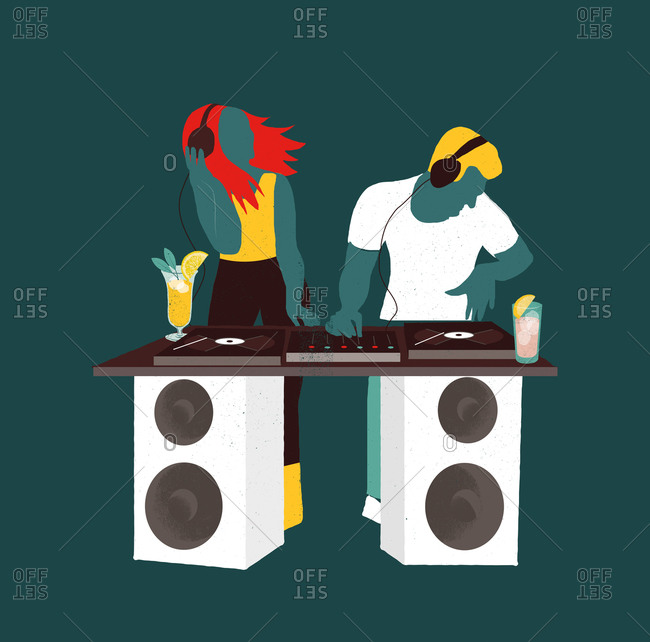 An illustration of DJs playing music