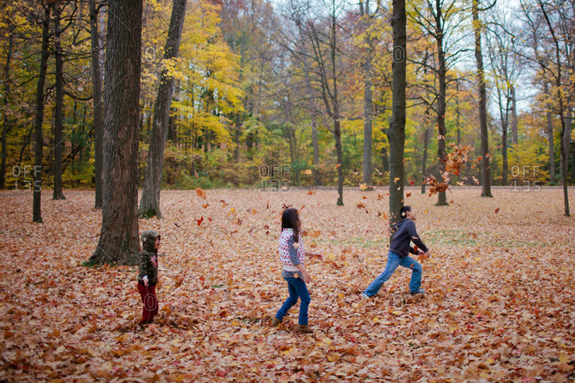 Three kids running through park with big trees and fallen leaves