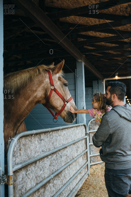 Father and daughter visiting horses at a fair