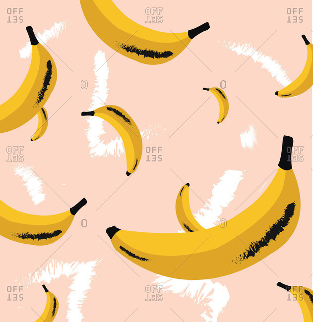 Pattern of bananas floating on pink background