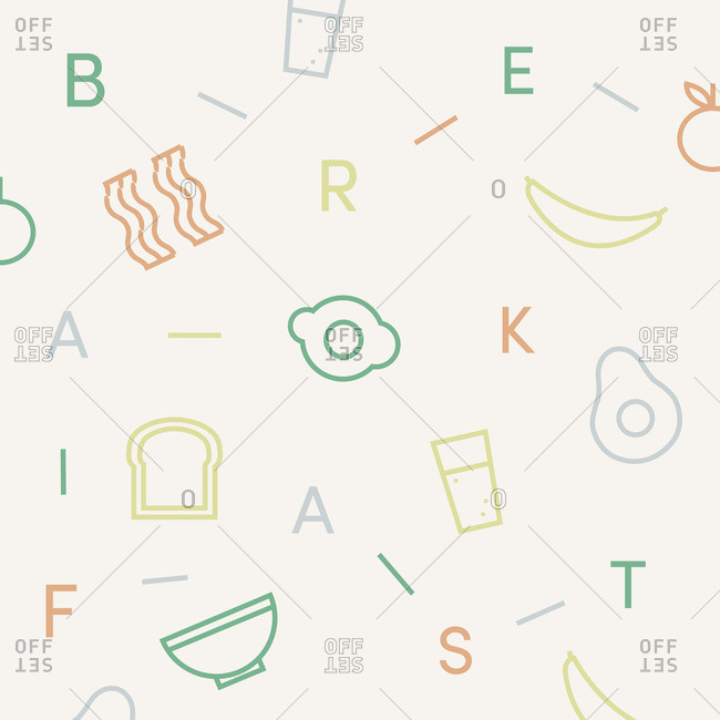 Pattern of letters spelling breakfast and breakfast food items on scattered on white background