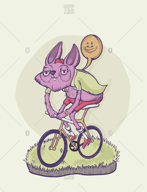 Cartoon bunny character riding a bike