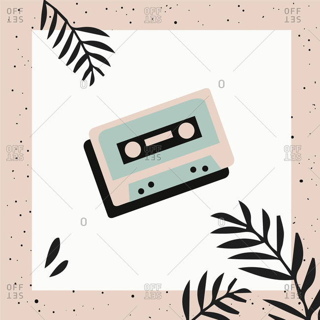 Cassette tape on white square over pink background with leaves