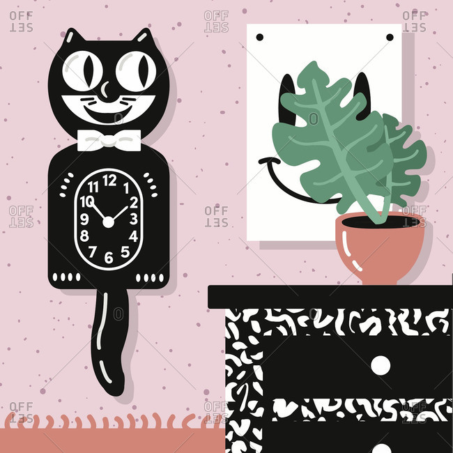 Interior scene with cat clock and plant