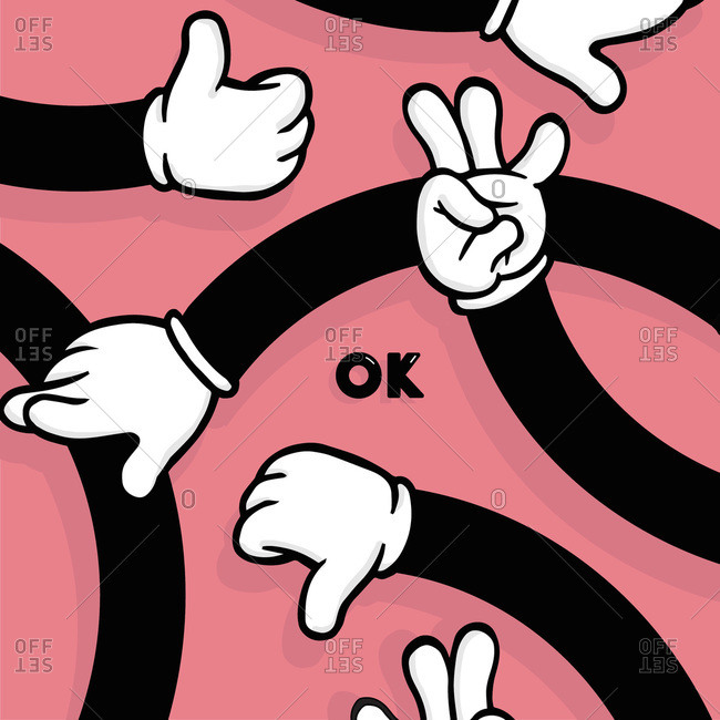 Cartoon arms with white gloves giving the thumbs up and OK sign on pink background