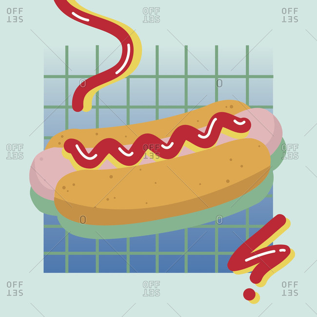 Hot dog with swirl of ketchup and mustard on green and blue grid background