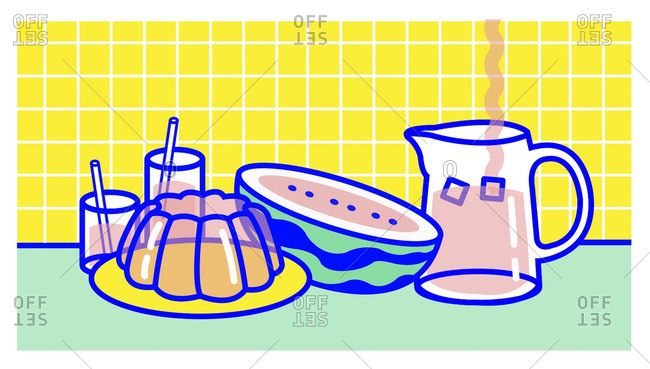 Cartoon food and drink on kitchen counter with yellow grid background