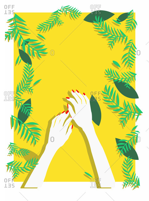 Woman's hands with red manicured nails over yellow background framed by ferns and leaves