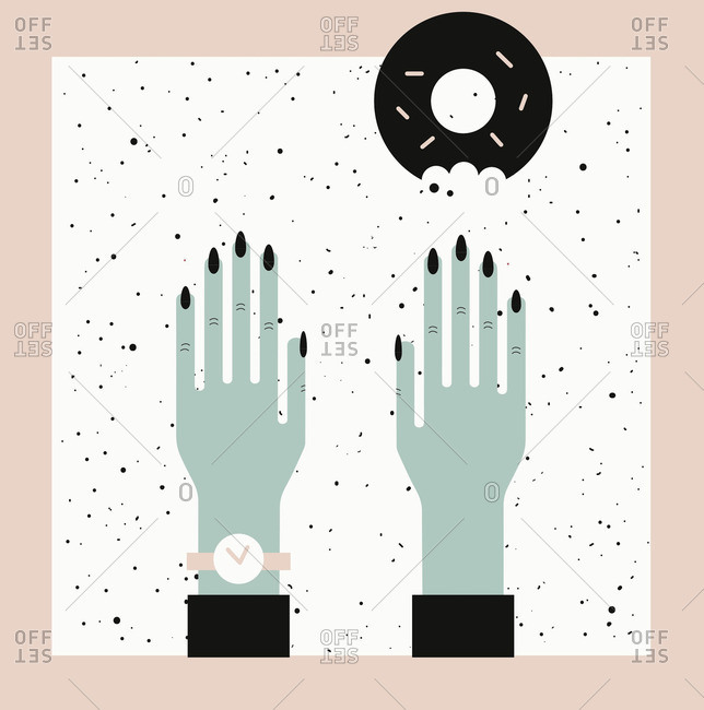 Pair of woman's hands reaching for a donut across speckled surface