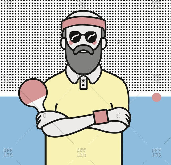 Bearded man with sunglasses and headband standing with arms crossed holding ping pong paddle