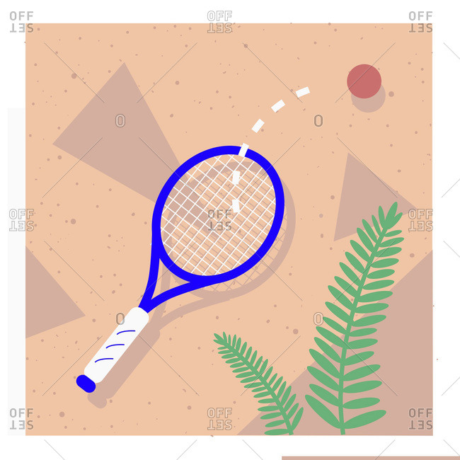 Ball bouncing off tennis racket on pink background with fern leaf