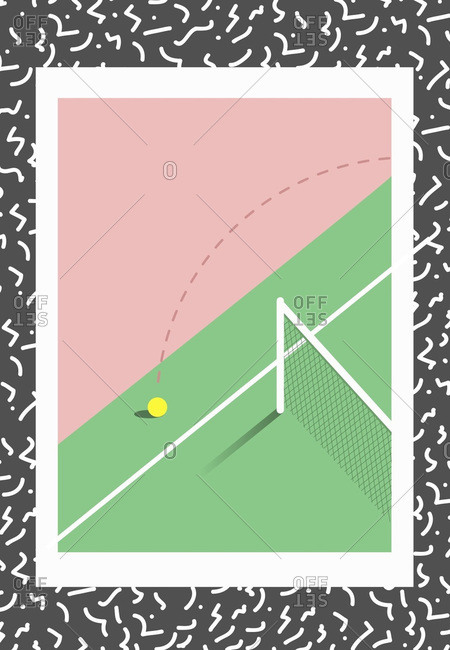 Tennis ball hitting court beyond the out line